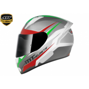 Capacete Moto Mt Stinger Divided Gloss White Grey Red Green